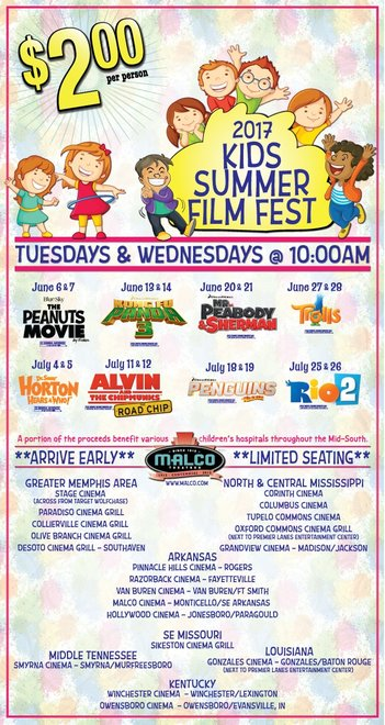 Malco Theaters 2017 Kids Summer Film Fest